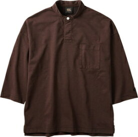 CCC-RA40574-60-L カンタベリー ユニセックス 3/4スリーブ オーガニックドライミックス ラガーシャツ(ブラウン・サイズ:L) CANTERBURY 3/4SLEEVE ORGANIC DRYMIX RUGGER SHIRT