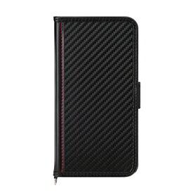 PG-20GFP04BK PGA iPhone 12 Pro/12用 フリップカバー(カーボン調ブラック)