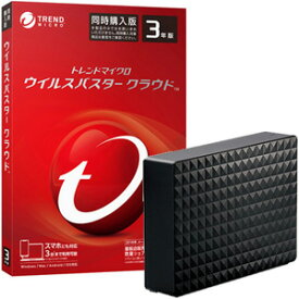 ウイルスバスタークラウド 3年3台版(DVD-ROM) + seagate USB3.0接続 外付けハードディスク 4.0TB 2点セット ※パッケージ版ウイルスバスタCL3Yドウ19-HD