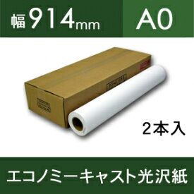 エコノミーキャスト光沢紙(紙ベース)・幅914mm(A0)×30m【2本入】【ゆうパケット対応不可】【送料無料】