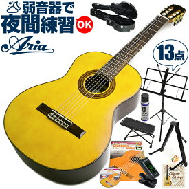 クラシックギター 初心者 セット アリア A-30S (スプルース材 単板) Aria アコースティック (13点 入門 セット ハードケース)