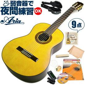 クラシックギター 初心者 セット アリア A-30S (スプルース材 単板) Aria アコースティック (9点 入門 セット ハードケース)