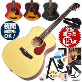 アコースティックギター 初心者セット (ハードケース付属 15点) アリア Aria-101 (フォーク ギター 初心者 アコギ 入門 セット)