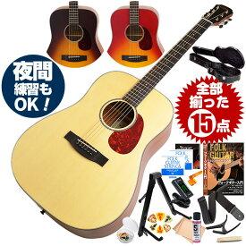 アコースティックギター 初心者セット (ハードケース付属 15点) アリア Aria-111 (フォーク ギター 初心者 アコギ 入門 セット)