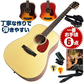 アコースティックギター 初心者セット (ハードケース付属 6点) アリア Aria-111 (フォーク ギター 初心者 アコギ 入門 セット)