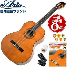 クラシックギター 初心者セット アリア A-20 6点 (Aria セダー単板 ギター 初心者 入門 セット)
