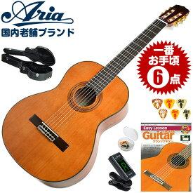 クラシックギター 初心者セット アリア A-20 6点 ハードケース付属 (Aria セダー単板 入門セット)