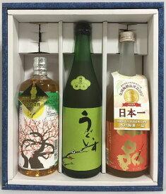 日本一の梅酒詰め合わせギフトセット 720ml 3本(庭のうぐいす/一品 水戸梅酒/樽熟梅酒 天空の月) ギフト箱入り