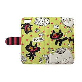 スマホケース 全機種対応 手帳型 ねこ ネコ 猫 iphone 12 11 se2 iphone8 iphone7 xperia aquos galaxy basio4 nicot/ぽんめのこ neko
