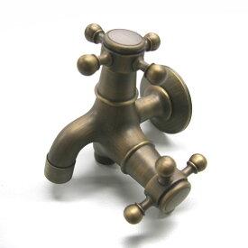 蛇口 アンティーク調 双口銅製蛇口 / 立水栓 水栓柱 立水栓セット 蛇口 ガーデン