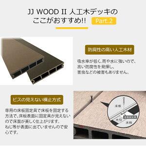 【2年保証】人工木ウッドデッキ2.0間9尺フェンス付3枚/4枚タイプ固定束/調整束ダークブラウン/モカJJ-WOODII/aks29652≪大型商品≫