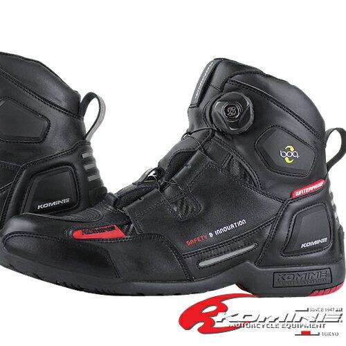 コミネ BK-077 ウォータープルーフプロテクトBoaライディングシューズ (トゥースライダー無し) KOMINE 05-077 WP Protect Boa Riding Shoes (without toe slider)