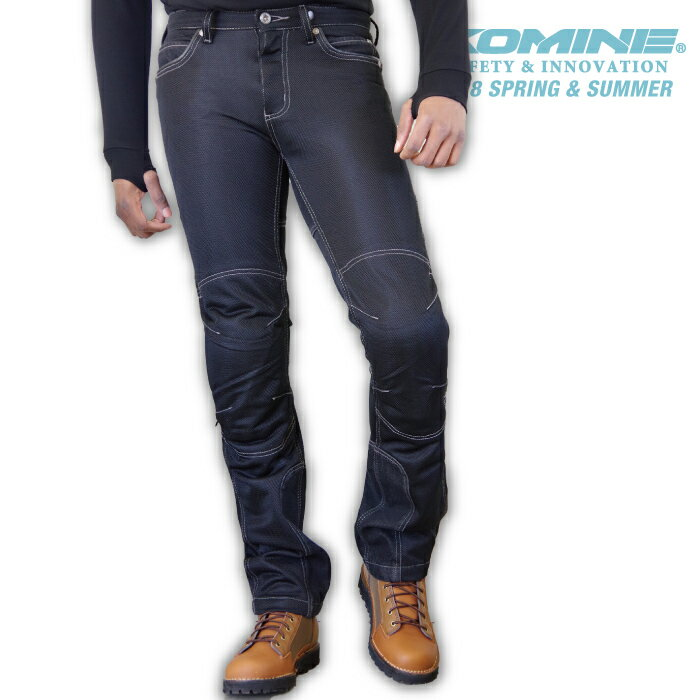 コミネ WJ-740R BLACK ライディングメッシュジーンズ CE規格パッド付 春夏バイクパンツ レギュラーフィット ストレッチタイプ メンズ レディース KOMINE 07-740