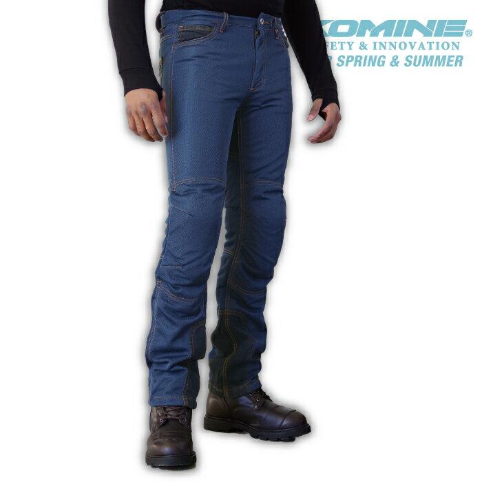 コミネ WJ-740R indigoBLUE ライディングメッシュジーンズ CE規格パッド付 春夏バイクパンツ レギュラーフィット ストレッチタイプ メンズ レディース KOMINE 07-740