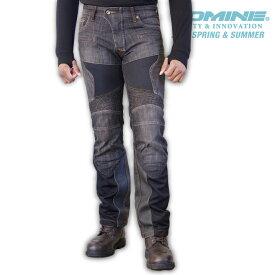 コミネ WJ-741S BLACK スーパーフィットプロテクトレザーメッシュジーンズ CE規格パッド付 春夏バイクパンツ スリムフィット ストレッチタイプ メンズ レディース KOMINE 07-741