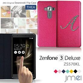 スマホ カバー Zenfone3 DELUXE ZS570KL ケース JMEIイニシャルスワロフスキーフリップケース THEA ゼンフォン 3 デラックス 手帳型 スマホカバー simフリー スマートフォン