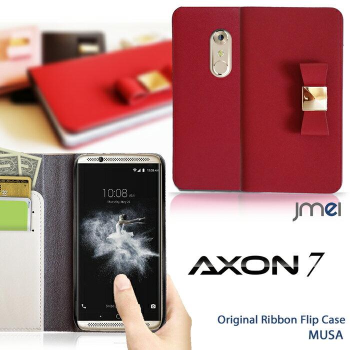スマホケース 手帳型 全機種対応 リボン 本革 ベルトなし 携帯ケース ブランド 送料無料・送料込み シムフリースマホ スマホカバー 手帳 機種 スマホケース 手帳型 AXON 7 ケース