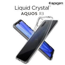 AQUOS R3 ケース シュピゲン リキッドクリスタル SH-04L SHV44 防指紋 ストラップホール付き アクオス R3 カバー 背面ドットコーティング au SHARP アクオスR3 ケース 耐指紋 エアクッション カメラ保護 スマホカバー スマートフォン カバー スマホケース ブランド
