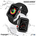 apple watch カバー 42mm 38mm Spigen Rugged Armor ガラスフィルム セット Series 1 2 3 対応 米軍MIL規格取得 アップルウォッチ ケース ブラン