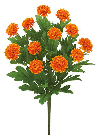 【造花 ・夏の造花 ・マリーゴールド】フレンチマリーゴールドブッシュ x 12・オレンジ
