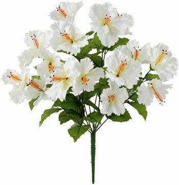 【造花 ・夏の造花 ・ハイビスカス】トロピカルハイビスカスブッシュ・ホワイト