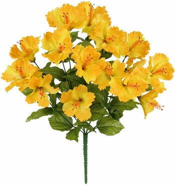 【造花 ・夏の造花 ・ハイビスカス】トロピカルハイビスカスブッシュ・イエロー