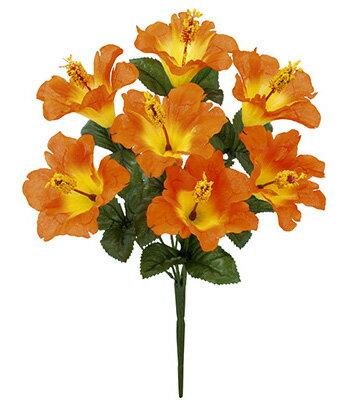 【造花 ・夏の造花 ・ハイビスカス】ハワイアンハイビスカスブッシュ・オレンジ