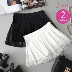 ペチコートペチパンツメッシュスカート付きレースショートパンツ透けないレディースインナーブラックホワイト黒白送料無料JOCOSA即納8531