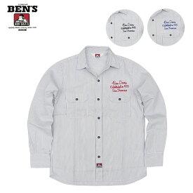 ベンデイビス 長袖 ワークシャツ US MADE COLLECTION ストライプ 刺繍入り フラップポケットシャツ BDUS-713EM1