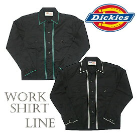 Dickies ディッキーズ 長袖ワークシャツ ライン刺繍