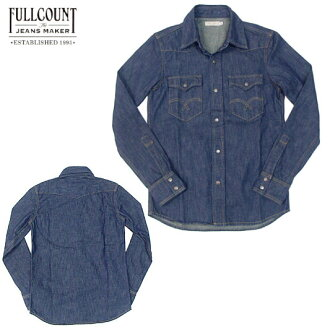 FULLCOUNT 全张 4798 西部牛仔衬衫一个靛蓝牛仔布西方衬衫靛蓝蓝色洗