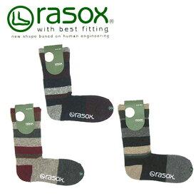 rasox ラソックス マルチボーダー ウール・クルー ソックス CA122CR01