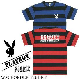 Schott x PLAYBOY ボーダーTシャツ 3153014