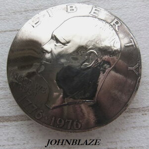 コンチョ ネジ式 USA アメリカ合衆国 大サイズ$ 1ドル硬貨 アイゼンハワー Eisenhower 自由の鐘と月 200周年記念硬貨 古銭 メダル コイン ネジ付 スクリューバック シカゴスクリュー ボタン カス