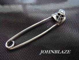 シルバー925製 銀の安全ピン クリップ スカル B
