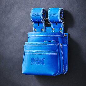 【受注生産品】【送料無料】【代金引換不可】【後払い不可】 KNICKS・ニックス 最高級硬式グローブ革チェーンタイプ3段腰袋 ブルー KGBL-301DDX