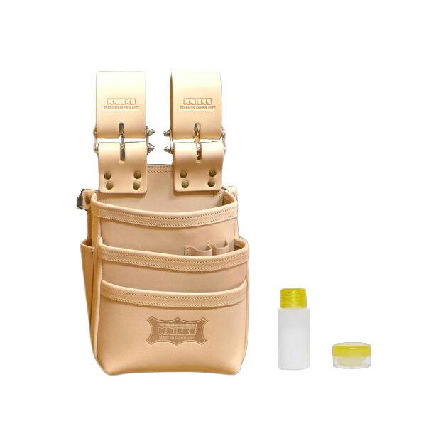 【メーカー欠品 納期未定】【送料無料】KNICKS・ニックス 総ヌメ革使用3段腰袋 ナチュラル KNS-301DDX