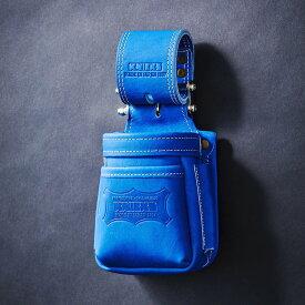 【メーカー欠品 納期未定】【送料無料】【代金引換不可】【後払い不可】KNICKS・ニックス 最高級硬式グローブ革チェーンタイプ小物腰袋 ブルー KGBL-201VADX