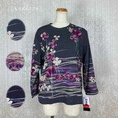 シニアファッション【敬老の日】60代70代80代人気銀の鈴京染ちりめんニット花柄パネルプリントTシャツギフト日本製