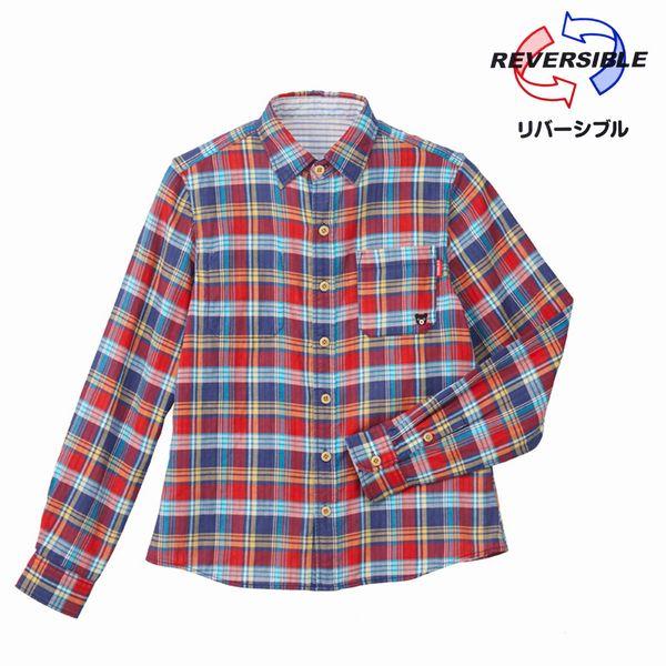 【2018新春セール】ミキハウス ダブルB(DOUBLE.B) チェック×ストライプのリバーシブルシャツ(大人用M:165-175cm)