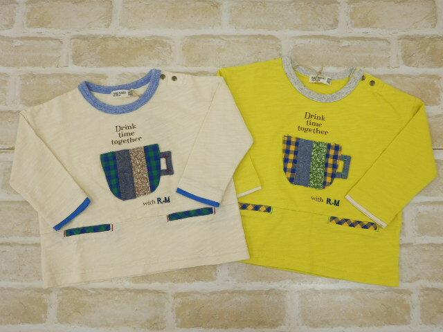 【2018秋冬】ラグマート(RAG MART)ティーカップアップリケ長袖Tシャツ(80cm、90cm、95cm)