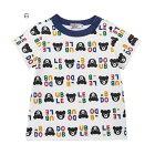 ミキハウスダブルB(DOUBLE.B)ロゴ&クマ総柄デザインの半袖Tシャツ