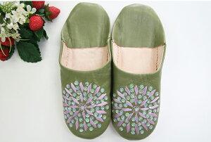 スリッパ バブーシュ レザー 本革 モロッコ スリッポン ルームシューズ刺繍・スパンコールモスグリーンギフト ラッピング結婚祝い 来客用スリッパ 母の日