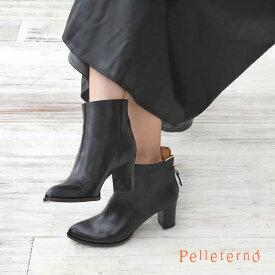 ペレテルノ PELLETERNO 定番 バックジップ ショートブーツ ブラック GS17 | 靴 ブーツ ヒール ハイヒール 7cm ポインテッドトゥ ファスナー 歩きやすい ブラック モード レザー おしゃれ かわいい レディース 女性