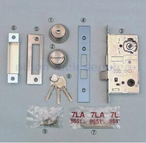 MIWA 13LA 錠ケース BS51 DT29〜32 U9シリンダー+サムターン+鍵3本付 ST色(美和ロック/錠ケース 交換 取替/LA・MA)