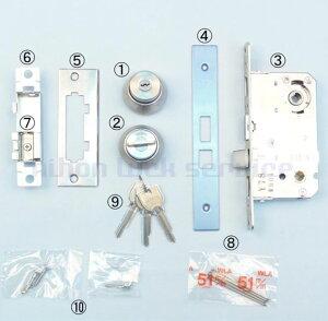 MIWA WLA 木製ドア用 錠ケース BS51 DT33〜41 木製ドア用 U9シリンダー+サムターン+鍵3本付 ST色(美和ロック/錠ケース 交換 取替/WLA)