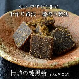 黒糖 200g×2袋 情熱の純黒糖 沖縄産黒砂糖 無添加手作り黒糖 さとうきび100% 送料無料