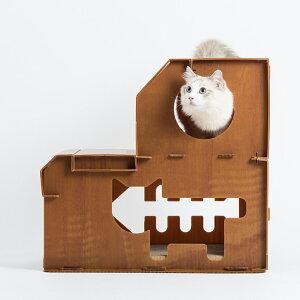 爪とぎハウス 猫ハウス 丈夫な本格プラベニヤ製ハウス 丸窓つき [猫 小型犬 遊び場 ケージ ペット用品][PT47]