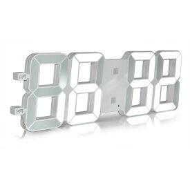【送料無料】新型 最大 3D LEDウォールクロック 白色LED デジタル時計 立体 明るさ自動調整内蔵 デコレーション 壁掛け 置時計 モダン デザイン[IT08]