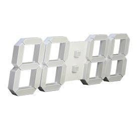 【送料無料】新型 3D LEDウォールクロック 白色LED デジタル時計 立体 明るさ自動調整内蔵 デコレーション 壁掛け 置時計 モダン デザイン アラーム [IT07]